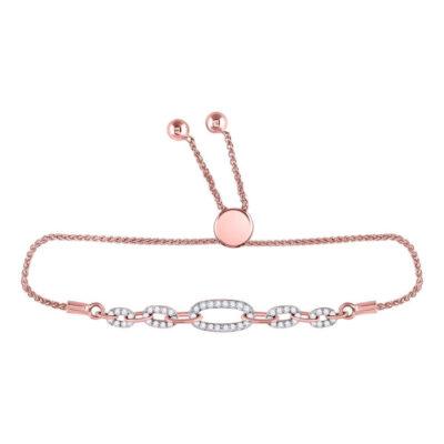 10kt Rose Gold Womens Round Diamond Oval Link Bolo Bracelet 1/3 Cttw