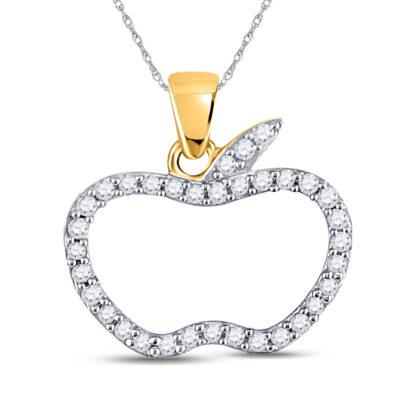 10kt Rose Gold Womens Round Diamond Apple Outline Fashion Pendant 1/5 Cttw