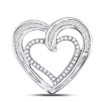 10kt White Gold Womens Round Diamond Heart Pendant 1/3 Cttw