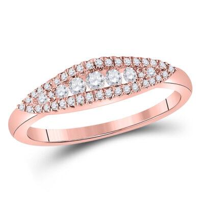 14kt Rose Gold Womens Round Diamond Modern Anniversary Band Ring 3/8 Cttw