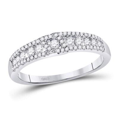 14kt White Gold Womens Round Diamond Anniversary Band Ring 1/2 Cttw