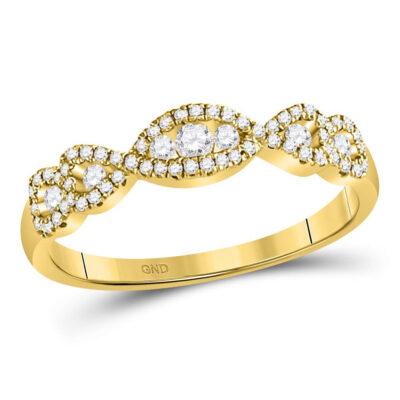 14kt Yellow Gold Womens Round Diamond 3-Stone Anniversary Band Ring 3/8 Cttw