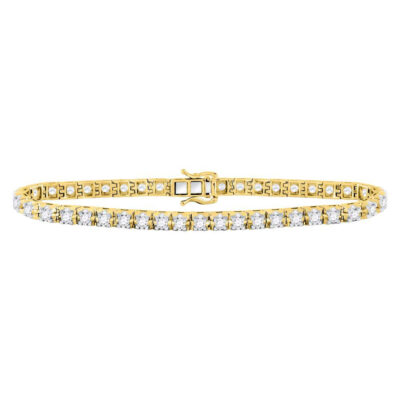 10kt Yellow Gold Womens Round Diamond Studded Tennis Bracelet 7 Cttw
