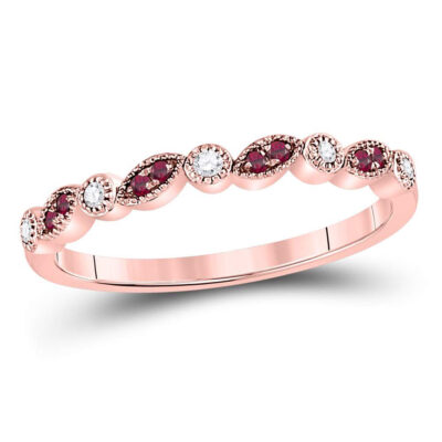 10kt Rose Gold Womens Round Ruby Diamond Marquise Dot Stackable Band Ring 1/8 Cttw