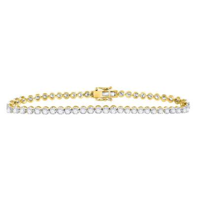 10kt Yellow Gold Mens Round Diamond Studded Tennis Bracelet 8 Cttw