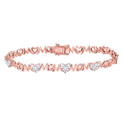 Rose-tone Sterling Silver Womens Round Diamond Mom Mother Bracelet 1/20 Cttw