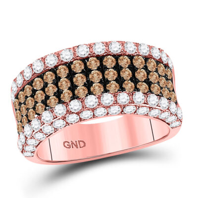 14kt Rose Gold Womens Round Brown Diamond Cocktail Anniversary Ring 2-3/8 Cttw
