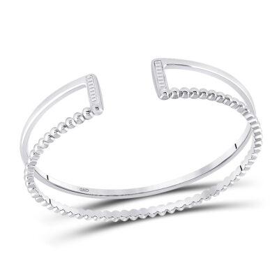Sterling Silver Womens Baguette Diamond Bangle Bracelet 1/5 Cttw