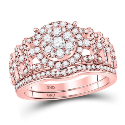 14kt Rose Gold Round Diamond Bridal Wedding Ring Band Set 1 Cttw