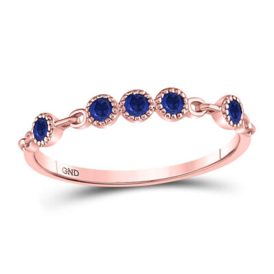 10kt Rose Gold Womens Round Blue Sapphire Dot Stackable Band Ring 1/5 Cttw