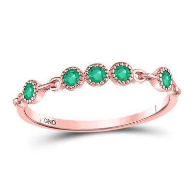 10kt Rose Gold Womens Round Emerald Dot Stackable Band Ring 1/20 Cttw