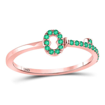 10kt Rose Gold Womens Round Emerald Key Stackable Band Ring 1/5 Cttw