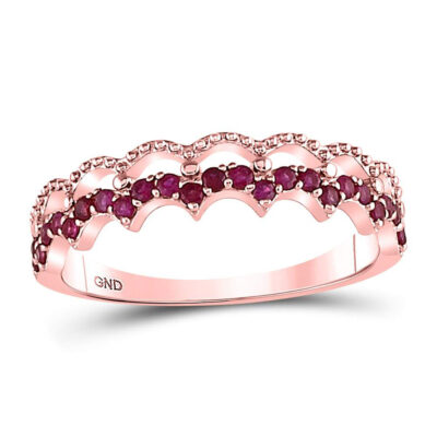 10kt Rose Gold Womens Round Ruby Scalloped Stackable Band Ring 1/4 Cttw