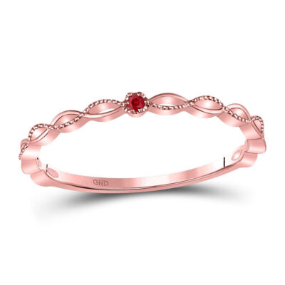 10kt Rose Gold Womens Round Ruby Solitaire Beaded Stackable Band Ring .01 Cttw