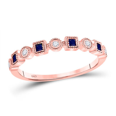 10kt Rose Gold Womens Princess Blue Sapphire Diamond Stackable Band Ring 1/8 Cttw
