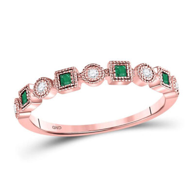 10kt Rose Gold Womens Princess Emerald Diamond Square Dot Stackable Band Ring 1/8 Cttw