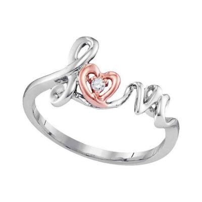 10kt Two-tone Gold Womens Round Diamond Love Heart Ring .02 Cttw - Size 8