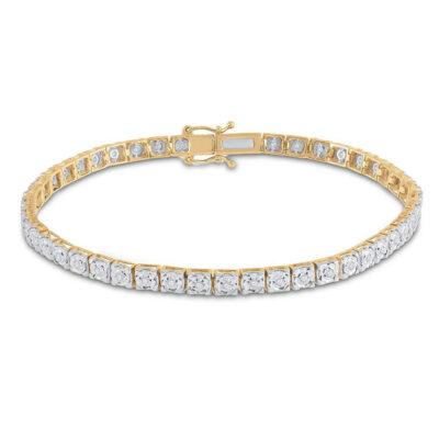 14kt Yellow Gold Womens Round Diamond Tennis Bracelet 1/3 Cttw