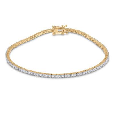 14kt Yellow Gold Womens Round Diamond Single Row Link Bracelet 1 Cttw