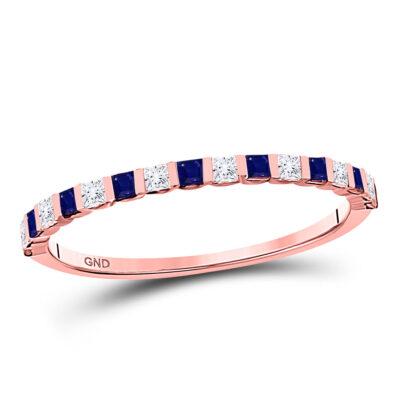 10kt Rose Gold Womens Princess Blue Sapphire Diamond Stackable Band Ring 3/8 Cttw