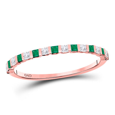 10kt Rose Gold Womens Princess Emerald Diamond Alternating Stackable Band Ring 1/3 Cttw