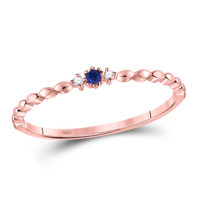 10kt Rose Gold Womens Round Blue Sapphire Diamond Stackable Band Ring .03 Cttw