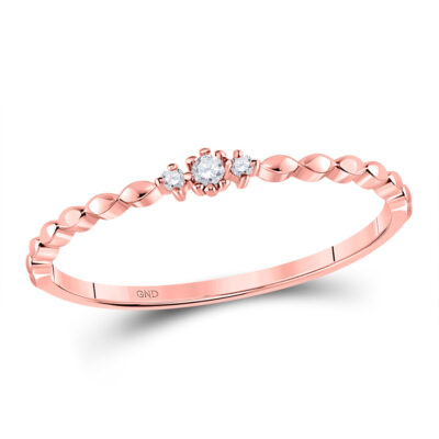 10kt Rose Gold Womens Round Diamond Stackable Band Ring .03 Cttw