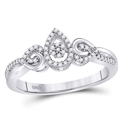 10kt White Gold Womens Round Diamond Teardrop Curl Cluster Ring 1/10 Cttw