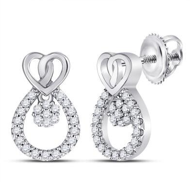 10kt White Gold Womens Round Diamond Teardrop Heart Earrings 1/6 Cttw
