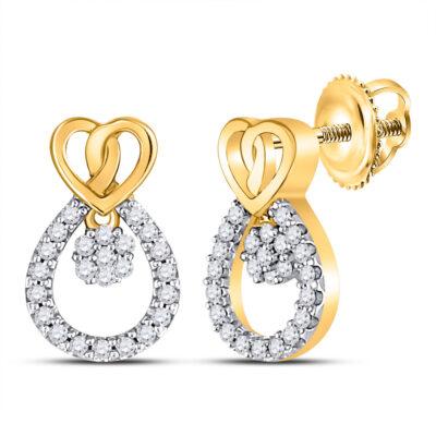 10kt Yellow Gold Womens Round Diamond Teardrop Heart Earrings 1/6 Cttw
