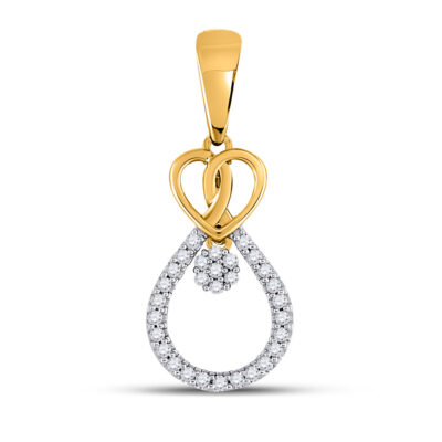 10kt Yellow Gold Womens Round Diamond Heart Teardrop Dangle Cluster Pendant 1/10 Cttw