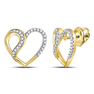 10kt Yellow Gold Womens Round Diamond Heart Earrings 1/6 Cttw