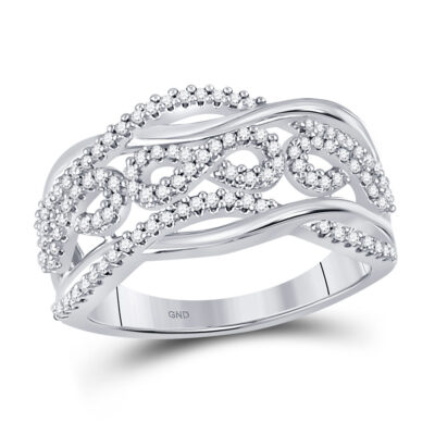 10kt White Gold Womens Round Diamond Infinity Band Ring 1/3 Cttw