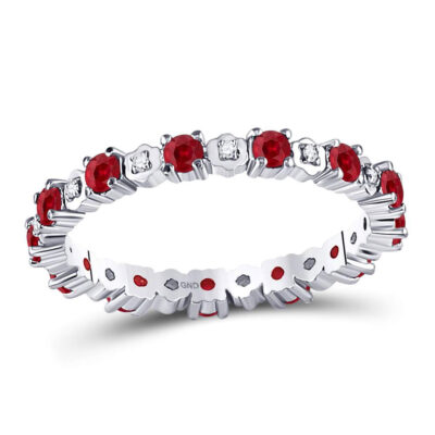 10kt White Gold Womens Round Ruby Diamond Eternity Stackable Band Ring Cttw
