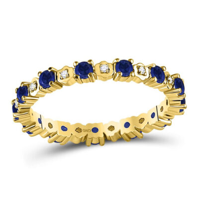 10kt Yellow Gold Womens Round Blue Sapphire Diamond Eternity Band Ring 1 Cttw
