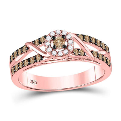 10kt Rose Gold Round Brown Diamond Solitaire Bridal Wedding Engagement Ring 3/8 Cttw