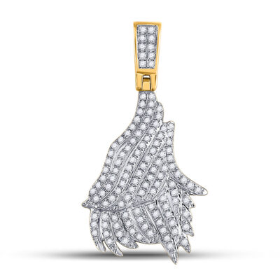 10kt Yellow Gold Mens Round Diamond Charm Pendant 3/4 Cttw