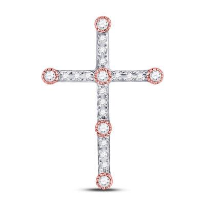 10kt Two-tone Gold Womens Round Diamond Cross Pendant 1/4 Cttw