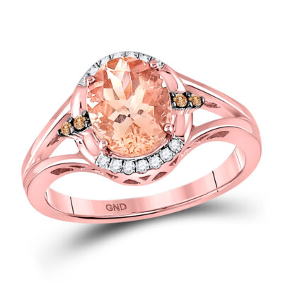 10kt Rose Gold Womens Oval Morganite Fashion Solitaire Ring 2 Cttw