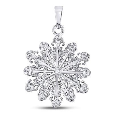 Sterling Silver Womens Round Diamond Snowflake Fashion Pendant .01 Cttw