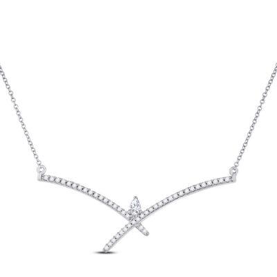 10kt White Gold Womens Pear Diamond Modern Fashion Necklace 1/4 Cttw
