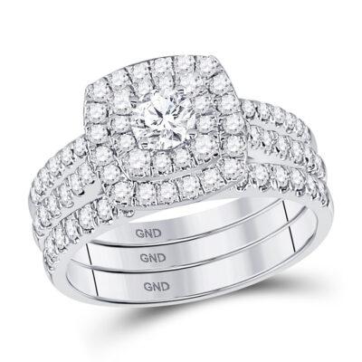 14kt White Gold Round Diamond Bridal Wedding Ring Band Set 1-1/2 Cttw