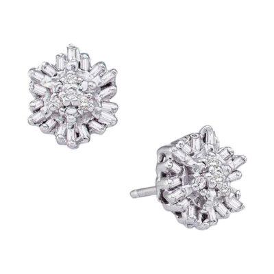 14kt White Gold Womens Round Baguette Diamond Cluster Stud Earrings 1/10 Cttw