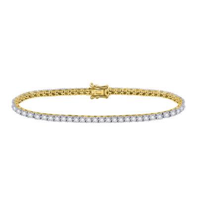 10kt Yellow Gold Womens Round Diamond Classic Tennis Bracelet 1 Cttw