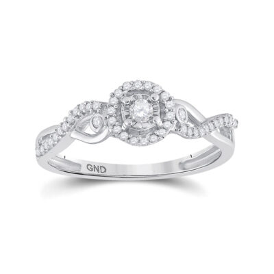 Sterling Silver Womens Round Diamond Halo Promise Ring 1/5 Cttw
