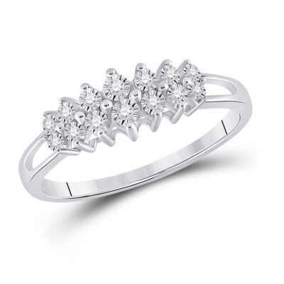 Sterling Silver Womens Round Diamond Fashion Band Ring 1/12 Cttw