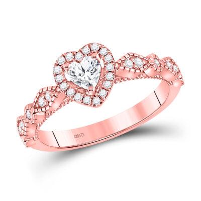 10kt Rose Gold Womens Heart Morganite Solitaire Diamond Ring 1/2 Cttw