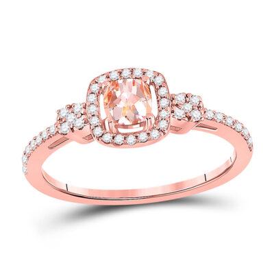 10kt Rose Gold Womens Cushion Morganite Diamond Halo Ring 5/8 Cttw