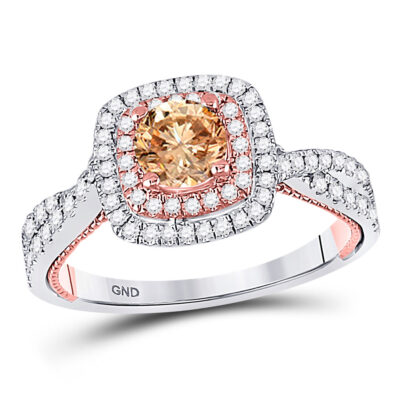 14kt Two-tone Gold Round Brown Diamond Solitaire Bridal Wedding Engagement Ring 1 Cttw