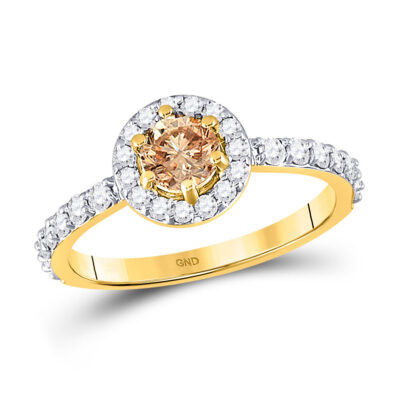 14kt Yellow Gold Round Brown Diamond Solitaire Bridal Wedding Engagement Ring 1 Cttw